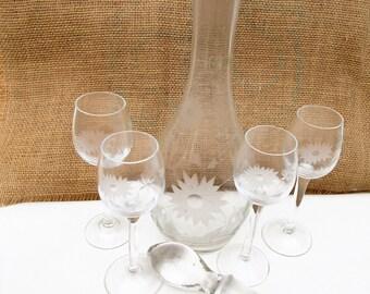 Vintage Decanter Set | Bar Set | Etched Glassware | Crystal Wine Set | Glass Stopper | Wine Glasses