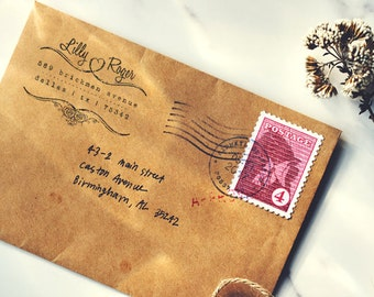 Personalized Address Stamp - Custom Stamp - Wood Mounted Rubber Stamp - Self Inker - Original Design - Wedding Stamps - Love Address Stamp