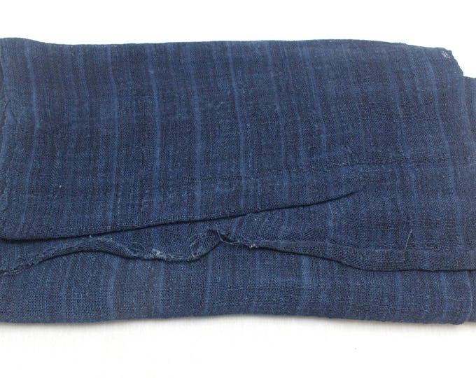 Vintage Hand Woven Hemp Textile. Natural Indigo Deep Dark Blue Fabric. (Ref: 1651)