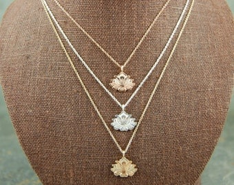 LOTUS in Recycled 14K rose, white or yellow Gold, Lotus FLOWER Necklace, Lotus Pendant, Yoga Jewelry, YOGA Gifts, Layered Necklace, lotus
