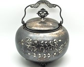 Antique Silverplate Crackers Tin Rockford Silver P.Co Kitchen Tin Shabby Vintage Cottage Cracker Canister