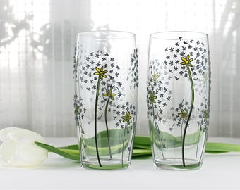 Hand Painted Glasses, Dandelion Design, Floral Tumblers, Water Glasses,  Drinking Glasses,  Set of 2,  Everyday Glasses with Dandelions