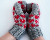 Gray wool mittens with red hearts For adult woman man teen unisex Winter Love Valentine day gift Chunky warm and cozy Medium size M L XL