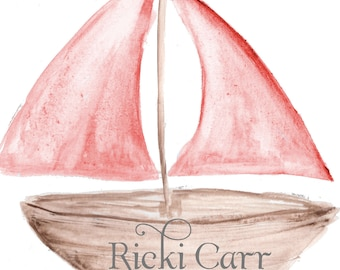 Hand painted Watercolor Clipart Red Sail Boat