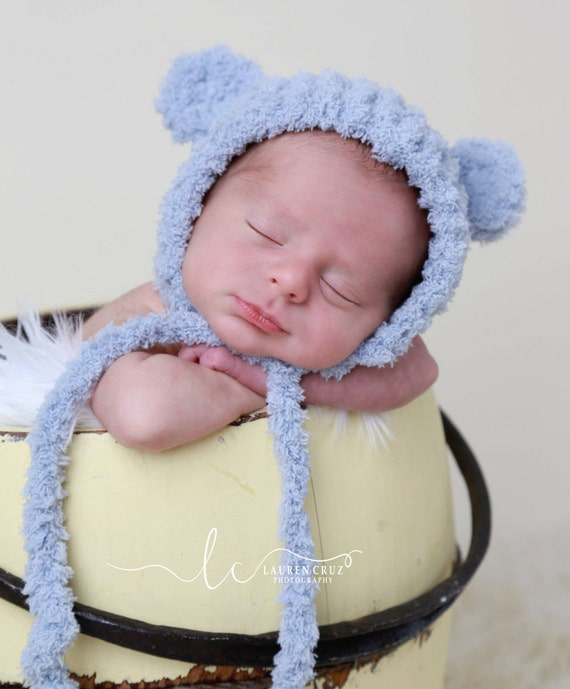 Bear Hat with Ears for boys or girls, 3 colors, brown, blue-grey, beige, soft textured fabric, newborns 0-3 M Lil Miss Sweet Pea