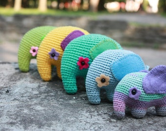 PATTERN - Colorful Elephant - Crochet Amigurumi Pattern - Elephant PDF Tutorial - Instant Download - Printable - In English