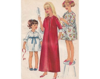 1960s Girls Housecoat Pattern Robe or Brunch Coat Pattern Simplicity 6814 Front Zipper Elbow Length Sleeves Childrens Size 10 Breast 28