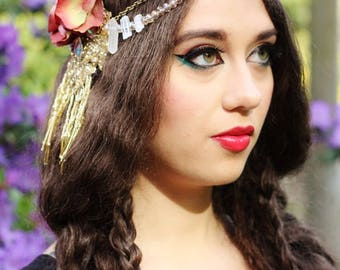 Summery Floral Headdress- Gold Sparkle, Raw Quartz and Mauve Hydrangea Headpiece for Bridal, Festival & Bellydance