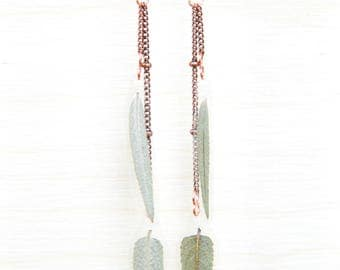 Green Sage Pressed Leaf Earrings with Satellite Chain