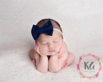Baby Headband, Baby Bow, Newborn Headband, Hair Bow, Baby Girls Headband, Felt Headband, Navy Bow, Bow Headband, Girls Headband, Newborn Bow