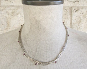 Liquid Silver Necklace Garnet and Sterling Silver Native American Necklace 9 Strands of Liquid Silver Choker Wedding Necklace