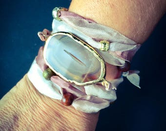 Summer handmade beautiful wrap around ribbon bracelet with an AGATE stalactite stone and multiple beads