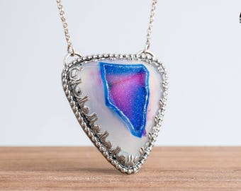 Colorful Purple Pink and Blue Druzy Agate Gemstone Necklace in Sterling Silver with Scalloped Setting - Unique Crystal Geode Necklace