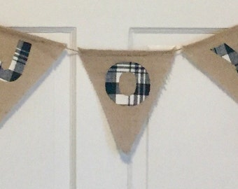 Sample Sale - HOLIDAY PLAID Burlap Plaid Pennant Bunting Banner - You Pick Fabric - Personalized - JOY