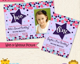 Star Invitation • First Birthday Invite • Baby • 1st Birthday Party • Pink Purple Blue • Second • Picture • Girl Invitation • Thank You •032