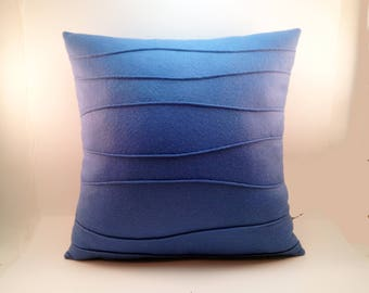 Blue Wool Felt Pillow, Modern Blue Felt Pillow with Wavy Ribbing, Decorative Pillow, Modern Pillow, 16 x 16, 18 x 18, 20 x20