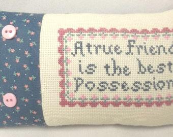Friend Cross Stitch Mini Shelf Pillow Friend Gift