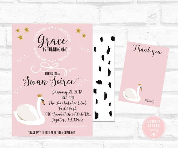 Swan Soiree Birthday Invitation Kit - Invite AND Thank You Card included