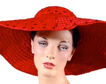 1950's Red Straw Floppy Hat Wide Brim - Shallow Crown - Vintage Women's Neiman Marcus