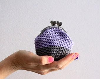 Crochet coin purse, kiss lock coin purse, color block coin purse, the Lavender Keeper, in lavender and grey