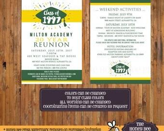 Class Reunion Invitation - High school reunion - 10 Year, 20 Year, 30 Year, 40 Year Reunion invite - CHANGE to your CLASS COLORS - Item 0321