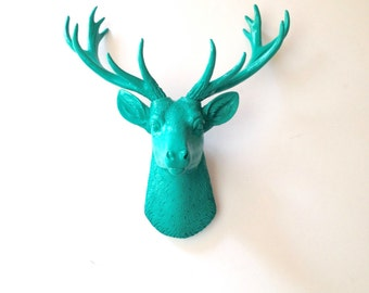 TEAL SMALL Deer Head wall mount Faux Taxidermy animal head wall hanging / stag / buck / deer wall decor / nursery decor / kids room decor