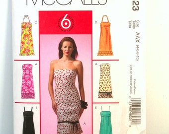 McCall M4823 Misses Petite Halter Dress Pattern Strapless Dress Hemline Pleats/Flounce Womens Sewing Patterns Size 4 ~ 10 Bust 29 ~ 32 Uncut