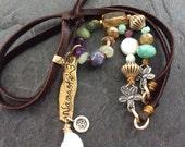 Namaste boho necklace - adjustable leather jewelry, gemstone necklace, spiritual yoga Om charm, gift for her by mollymoojewels