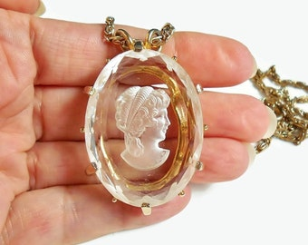 Glass Cameo Necklace , Vintage Reverse Carved Intaglio , Heavy Beveled Glass Cameo Pendant With Long Gold Chain