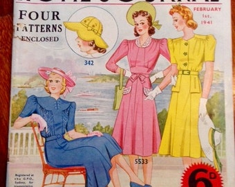 Vintage 1941 Australian Home Journal with 4 Patterns