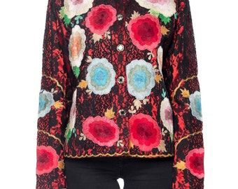 Boho Gucci Style Lace Jacket With Floral Embroidery Size: