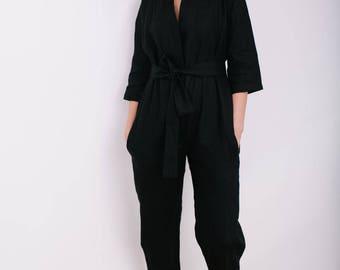 Kimono Jumpsuit - Kimono Linen Jumpsuit - Women Overall - Linen Overall - Linen Romper - Handmade by OFFON