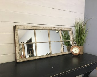 White Window Pane Mirror From A Very Olf By