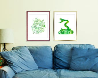 Set of 2 Harry Potter Printable, Slytherin House Print, Watercolor Slytherin Snake, Snape Quote, Printable Quote Art, Harry Potter Quote