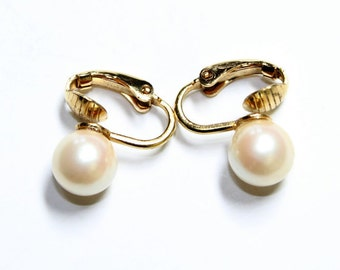 Gold Coloured & Faux Pearl Clip On Earrings (c1980s)