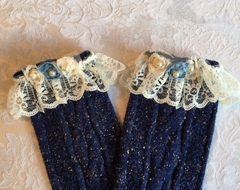 Boot Rag Socks Blue With Lace And Pearls