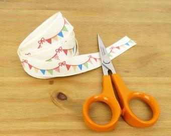 "5/8"" (15mm) cream ribbon with a bunting print, Party ribbon, Hair bow ribbon, Craft supply, Haberdashery product, Colourful ribbon"