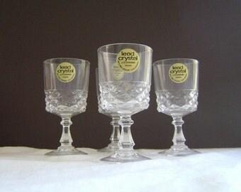 Vintage J G Durand Crystal Cordial Glasses, Set of 4, French Crystal, Arc International, Diamond, 1.5 Ounces, Pony Glass, Liqueur Glass
