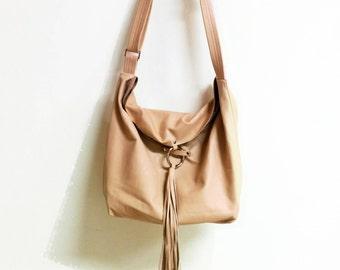 Nude Leather Crossbody Bag, Soft Leather Hobo Bag, Hobo Crossbody Bag, Leather bag, Adjustable Strap, Leather Tassel Closure, Sac Bag