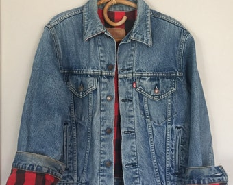 Vintage Levis Buffalo Check Flannel Lined Jean Jacket