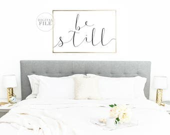 BE STILL - Bedroom Decor - You Print Printable Wall Art (5) Jpegs, Bedroom Sign, Inspirational Decor, Religious Decor