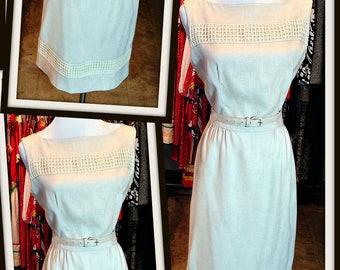 Vintage Ecru Linen Shift Sheath Dress FREE SHIPPING