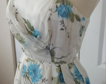 Vintage 1960s Turquoise Rose Chiffon Evening Gown Party Dress