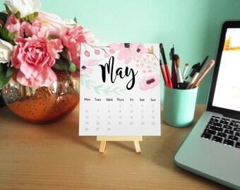 Floral Watercolor 2017 Desk / Wall Hanging Calendar Planner Organiser.