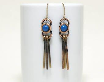 copper earrings, anniversary gifts for women, long copper earrings, copper anniversary gift, rustic earrings, copper jewelry