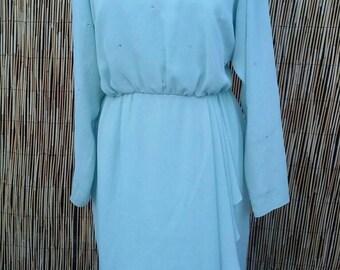 Vintage 70's Aqua Chiffon and Rhinestone Cascading Dress