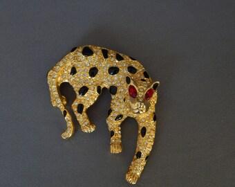 Vintage Leopard Brooch, Rhinestone Enamel Leopard Pin, Rhinestone Paved Large Leopard Pin, Feline Figural Pin, Estate Jewelry