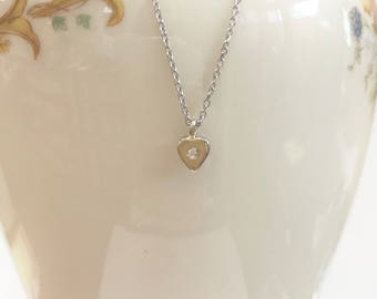Girls Tiny Diamond Heart Pendant -14 karat white gold