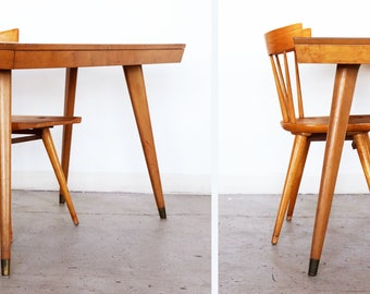 MCM Paul McCobb Table + Spindle Back Chair winchendon Planner group Desk End Side Table Mid Century Modern Vintage SET
