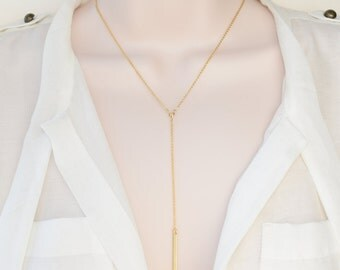 Thin Bar Drop Necklace, Gold Bar Jewelry, Gold Bar Necklace